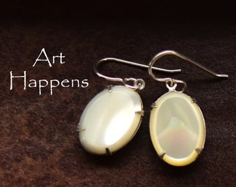 """Lovely Mother of Pearl Oval Earrings, MOP earrings, """"Mother May I"""""""
