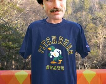 vintage 80s t-shirt FITCHBURG STATE university falcons massachusetts champion tee shirt XL navy blue