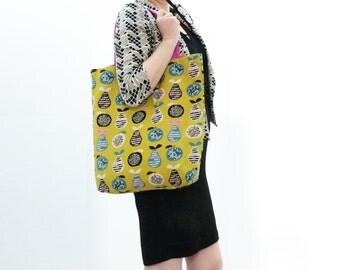 Multi colour cotton pear fabric tote bag