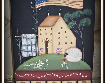 Primitive Saltbox House Flag Sheep Penny Rug 11 x 14 Canvas Panel Hand Painted Home Decor Picture