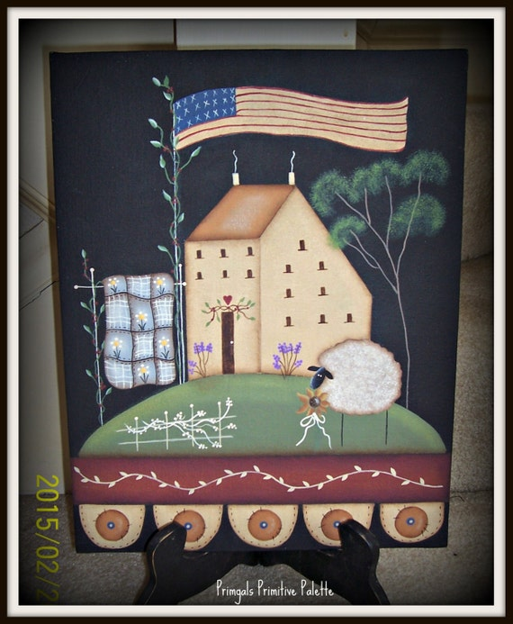 Primitive Saltbox House Flag Sheep Penny Rug 11 X 14 Canvas