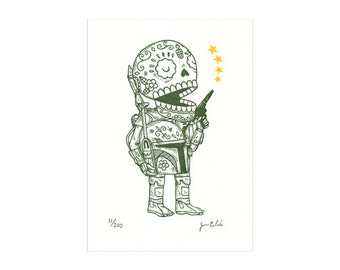 Unmasked Boba Fett Calavera Limited Edition Gocco Screenprint Day of the Dead Art
