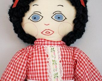 Vintage Large Rag Doll in Red Gingham Dress