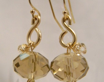 14 K Gold Earrings with Champagne Faceted Glass Beads and Swarovski Crystals!