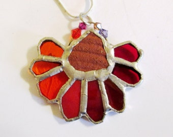 SALE - Stained Glass Pendant with Ancient Pottery Chip from Israel - Antique Rose