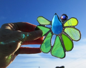 Starbright -  Stunning Stained Glass Crystal Flower Suncatcher with Blue Jewel Accent