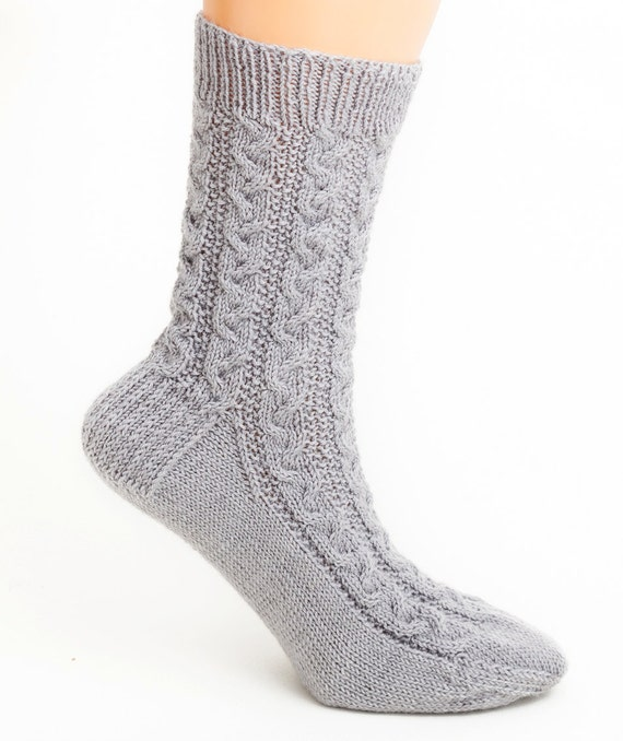 Cable Knit Socks Pattern : PATTERN ONLY Braided Cable Socks