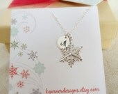 Custom snowflake necklace, personalized silver initial necklace with gift box, sterling silver snowflake charm, monogram necklace, gift wrap