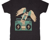 Hawk - Unisex Mens T-shirt Tee Shirt Eagle Falcon Boombox Music Old School Cassette Tape Bird Owl Mixtape Dj Vintage Retro Tri Black Tshirt
