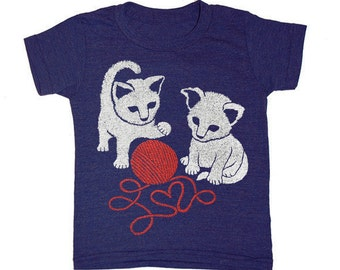 KIDS Kittens T-shirt - Boy Girl Children Cat Cute Friends Love Cats Red Yarn Heart Kitten Toddler Youth Tee Shirt Kitties Tri Indigo Tshirt