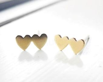 Heart Earring Studs,,Romantic Jewelry,Double Hearts Studs,Heart Jewelry,Gold Heart Earrings,Sterling Silver Hypoallergenic Earrings (E227)