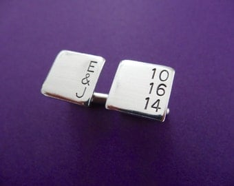 Personalized Square Cufflinks - Custom Initial and Date Cuff links - Custom Cuff Links - Aluminum