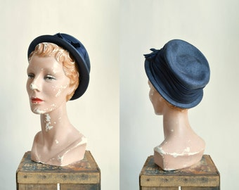 1950s Navy Straw Hat --- Vintage Christine Original Hat