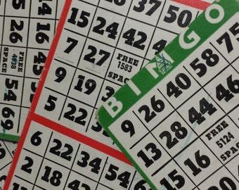 Vintage Bingo Cards Set of 10, Long cards Triple 3 Three