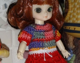 Crochet clothes Dress Ai Jun Planning BJD 5 inches doll Red Pink Blue Green White