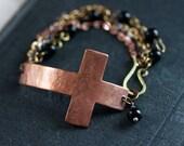 Copper Cross Bracelet Sideways Cross Bracelet Rosary Bracelet Religious Bracelet Large Cross Bracelet