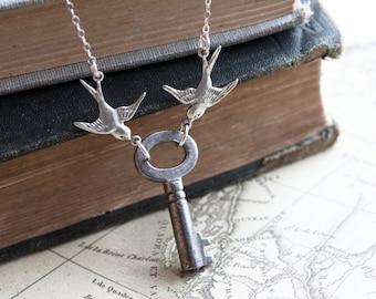 LOVE NEST Vintage Skelton Key Necklace Antique Key Necklace Romantic Sweet Heart Key Necklace. Rustic Jewelry. Garden Necklace