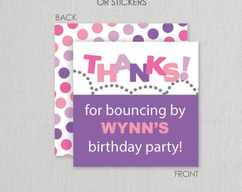 Stickers or Cardstock Gift Tags . Bounce or Trampoline Birthday Party . for Favors, Treat Bags and Envelope Seals