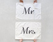 Mr. & Mrs. Tea Towel Set - mix and match - kitchen towels - wedding gift | housewarming gift - modern typography - Tea(m) Towels