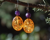 Amber Earrings, Amethyst, Earthy,  Gift for Her, Classic Oval Shape, Yellow