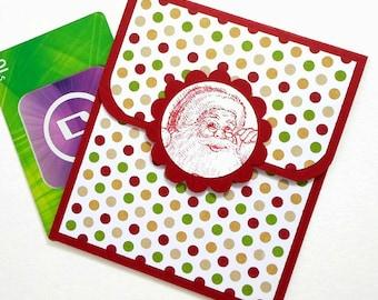 Christmas Gift Card Holder - Holiday Gift Card Holder, Christmas Money Card, Santa Cards - Hand Stamped Santa and Polka Dots