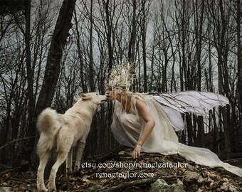 Winter Faerie and Wolf