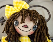 Primitive Raggedy Ann Handmade Cloth Doll- Star Annie HAFAIR