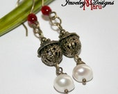 Old World Bronze Genuine Pearl and Red Crystal Earrings