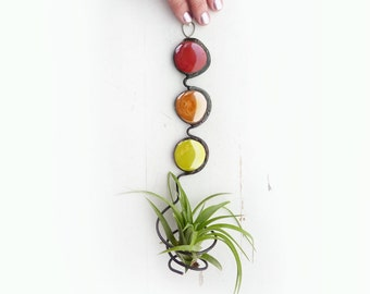 Glass Bead Air Plant Holder -   Red orange yellow trio