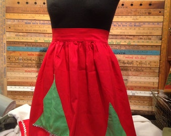 Vintage Red Christmas Half Apron with Green Christmas Trees and Silver Rick Rack Trim