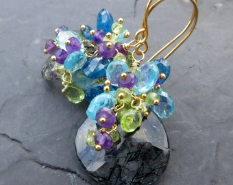 Gemstone mermaid earrings in gold vermeil - turquoise apatite - purple amethyst - spring green peridot - rutilated quartz - mermaid fashions