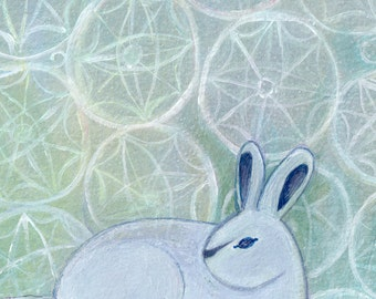 Fine Art Print, snow bunny, winter, snowflakes, rabbit, children's decor