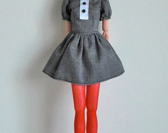 Button down puff dress black for momoko doll