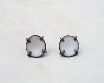 White Enamel Post Earrings | Small Stud Earrings | Enamelled jewelry