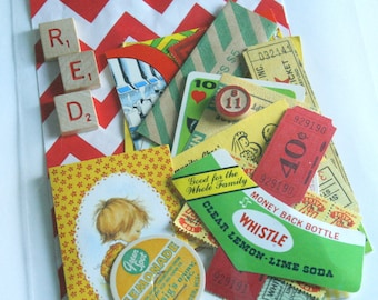 Vintage Ephemera Pack - Craft Supplies - Red, Yellow, Green - Carnival Tickets -  Collage - Mixed Media - Scrapbooking Kit - Supplies Lot
