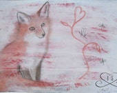 SALE - Retablo Folk Art - Acrylic, Graphite & Sanguine, Fox in Snow, Fox Fable, Dragonflies Metamorphosing, Heart of Nature