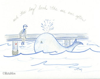 Retablo Folk Art - Whimsical Watercolor Children's Illustration, Storybook Art Illustration, Whale & The Sea, Boy On The Pier