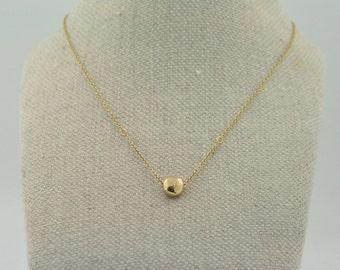 14k Gold Single Pebble Neckalce   Gold Necklace