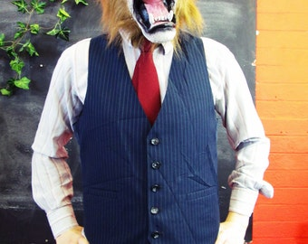 Vintage 1970s Traditional Navy Pinstripe Waistcoat w/ Matching Buttons Large