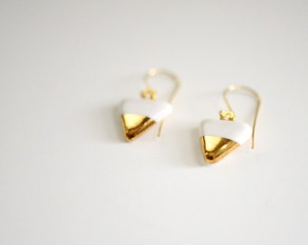 22k Gold Pennant Porcelain White Triangle Earrings - Ceramic Earrings, Nickel Free, 14k gold filled
