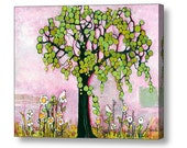 Large Wall Art, Three Little Birds, Tree Artwork, Whimsical Prints, 20X24, 16X20, Canvas Giclee