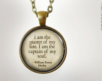 Invictus Quote : Glass Dome Necklace, Pendant or Keychain Key Ring. Gift Present metal round art photo jewelry by HomeStudio