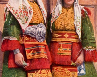 Vintage Macedonian Women  Costume Traditional Dress Historical Photochrome Portrait Print