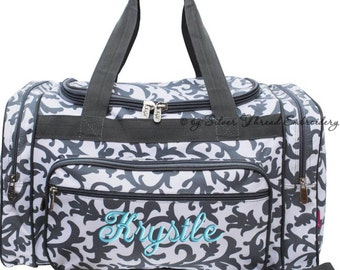 Personalized Duffle Bag Gray Damask Dance Bag Luggage Gym Travel Overnight