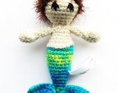Child Safe Merman: Boy Mermaid RATTLE with Light Beige Skin, Dark Brown Hair, and Blue and Green Tail