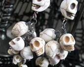 Summer Skulls ~  Cascading Skull Earrings ~ Handmade Art Earrings ~ Bone Lady Collection