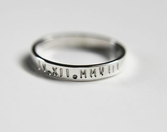 Custom sterling silver band - message ring - modern ring - simple band - wedding band - minimalist - thumb ring
