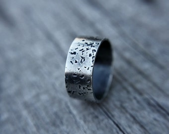 Rustic sterling silver band - distressed band - wedding band - modern ring - thumb ring - men's ring - unisex