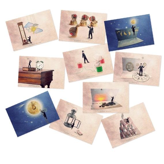 Art postcards, Postcard set, Tiny trades, Fun prints, Sets of postcards, French Postcard set, Fun postcards, Postcards lot
