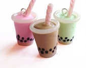 Bubble Tea Necklace Boba Tea Necklace Boba Tea Charm Necklace - Choose Your Color! - Miniature Food Jewelry
